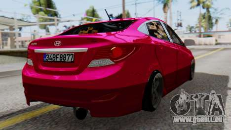 Hyundai Accent Blue pour GTA San Andreas laissé vue
