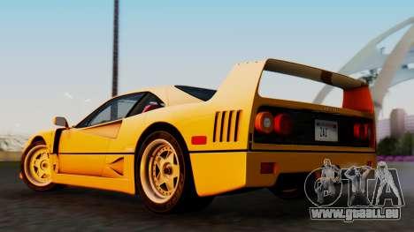 Ferrari F40 1987 without Up Lights für GTA San Andreas linke Ansicht