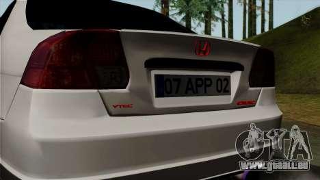 Honda Civic für GTA San Andreas Rückansicht