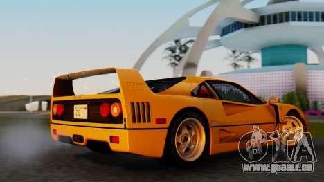 Ferrari F40 1987 without Up Lights für GTA San Andreas zurück linke Ansicht