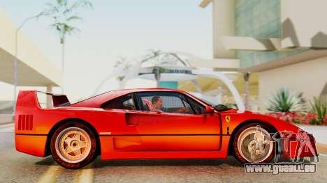 Ferrari F40 1987 with Up Lights pour GTA San Andreas sur la vue arrière gauche