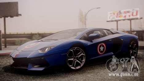 Lamborghini Aventador LP 700-4 Captain America für GTA San Andreas zurück linke Ansicht