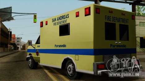SAFD SAX Rescue Ambulance pour GTA San Andreas laissé vue