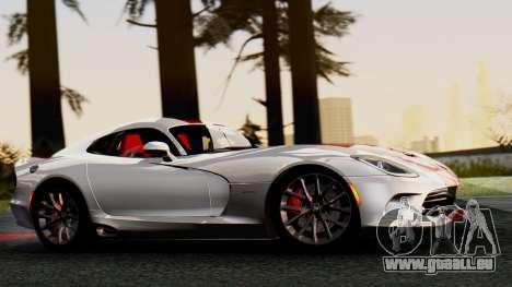 Dodge Viper SRT GTS 2013 IVF (MQ PJ) HQ Dirt pour GTA San Andreas sur la vue arrière gauche