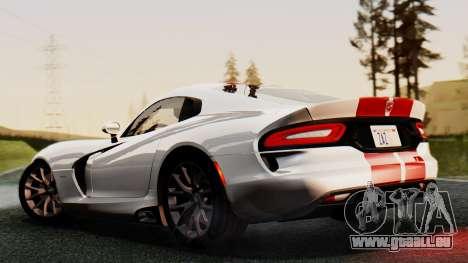 Dodge Viper SRT GTS 2013 IVF (MQ PJ) HQ Dirt pour GTA San Andreas vue intérieure