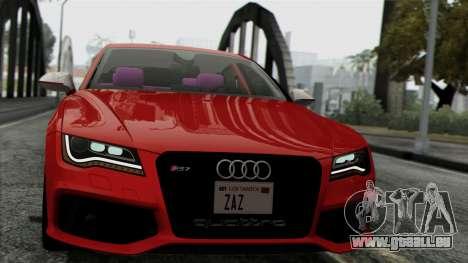 Audi RS7 2014 pour GTA San Andreas sur la vue arrière gauche
