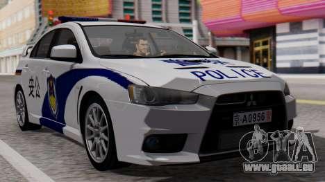 Mitsubishi Lancer Evo X Chinese Police für GTA San Andreas