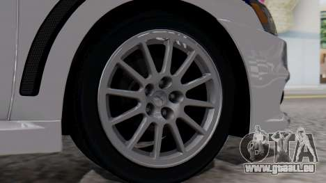 Mitsubishi Lancer Evo X Chinese Police für GTA San Andreas zurück linke Ansicht