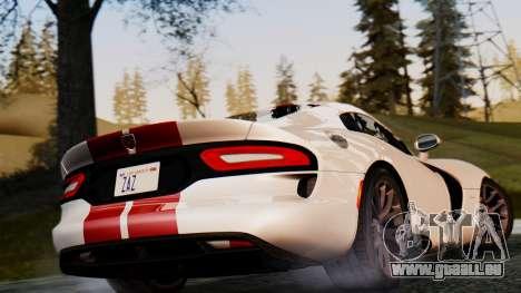 Dodge Viper SRT GTS 2013 IVF (MQ PJ) HQ Dirt pour GTA San Andreas vue arrière