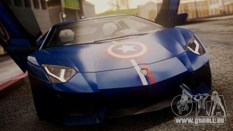 Lamborghini Aventador LP 700-4 Captain America pour GTA San Andreas vue de dessous