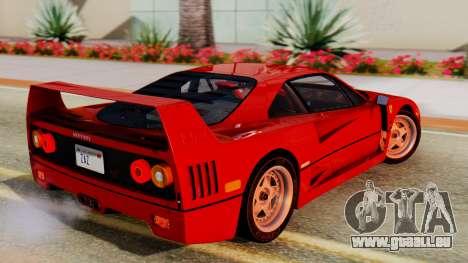Ferrari F40 1987 with Up Lights pour GTA San Andreas laissé vue