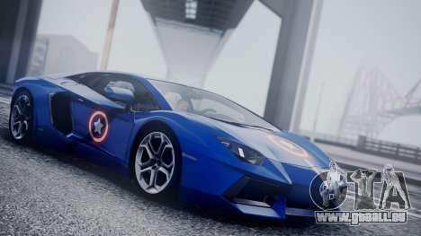 Lamborghini Aventador LP 700-4 Captain America für GTA San Andreas Rückansicht