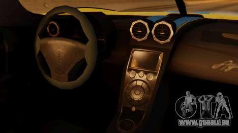 Koenigsegg Agera 2011 für GTA San Andreas rechten Ansicht