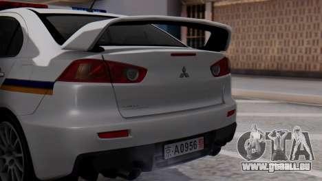 Mitsubishi Lancer Evo X Chinese Police für GTA San Andreas Rückansicht