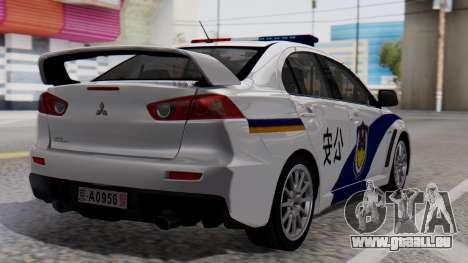 Mitsubishi Lancer Evo X Chinese Police für GTA San Andreas linke Ansicht