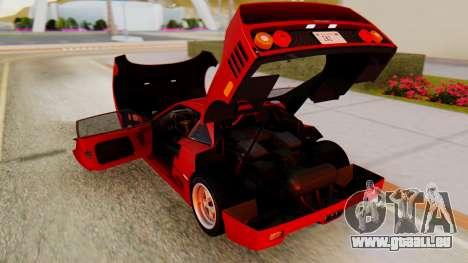 Ferrari F40 1987 with Up Lights pour GTA San Andreas vue intérieure