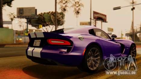 Dodge Viper SRT GTS 2013 IVF (HQ PJ) HQ Dirt pour GTA San Andreas laissé vue