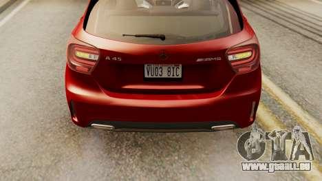 Mercedes-Benz A45 AMG 2012 pour GTA San Andreas vue arrière