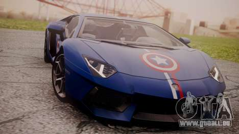 Lamborghini Aventador LP 700-4 Captain America pour GTA San Andreas laissé vue