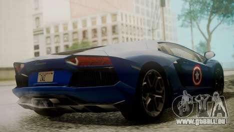 Lamborghini Aventador LP 700-4 Captain America pour GTA San Andreas vue intérieure