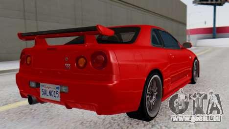 Nissan Skyline R34 für GTA San Andreas linke Ansicht