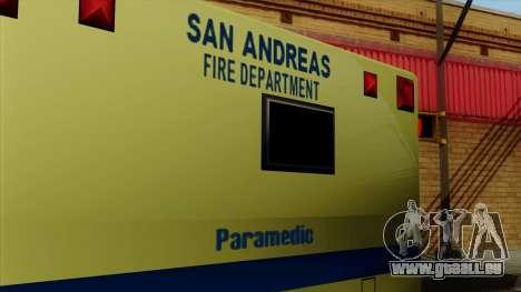 SAFD SAX Rescue Ambulance pour GTA San Andreas vue de droite