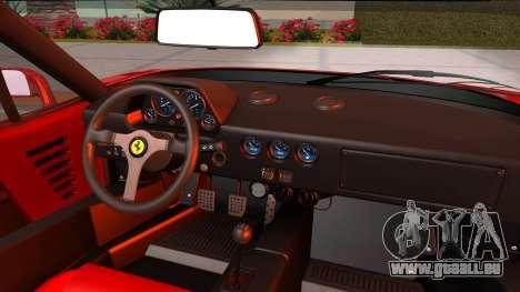 Ferrari F40 1987 with Up Lights pour GTA San Andreas vue arrière
