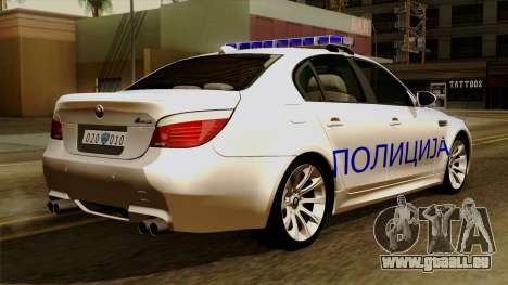 BMW M5 E60 Macedonian Police für GTA San Andreas linke Ansicht