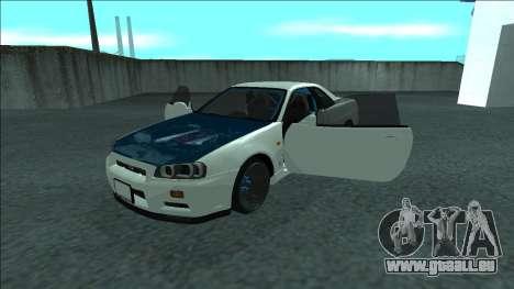 Nissan Skyline R34 Drift für GTA San Andreas Unteransicht