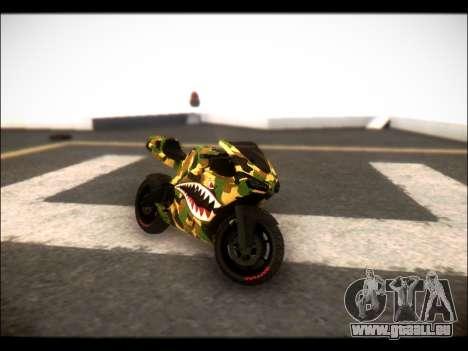 Bati Motorcycle Camo Shark Mouth Edition pour GTA San Andreas sur la vue arrière gauche