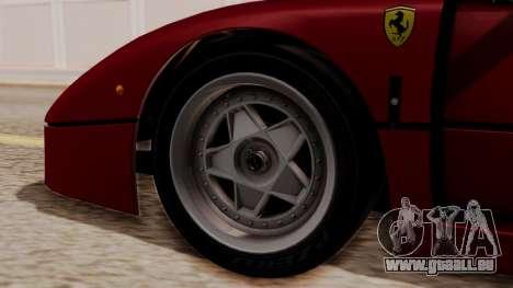 Ferrari F40 1987 without Up Lights HQLM pour GTA San Andreas sur la vue arrière gauche