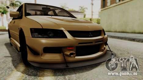 Mitsubishi Lancer Evolution IX MR 2006 für GTA San Andreas obere Ansicht