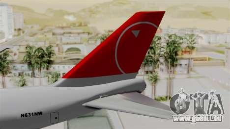 Boeing 747 Northwest Cargo für GTA San Andreas zurück linke Ansicht