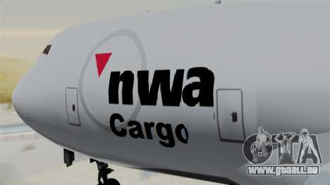 Boeing 747 Northwest Cargo für GTA San Andreas Rückansicht