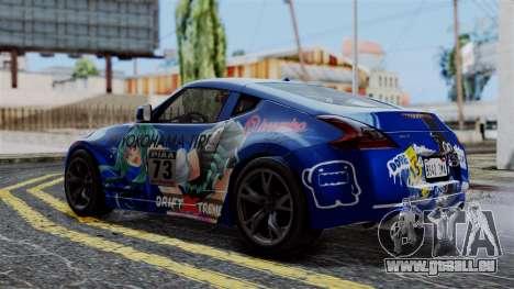 Nissan 370Z Tunable Miku Paintjob pour GTA San Andreas sur la vue arrière gauche