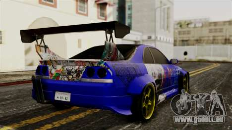 Nissan Skyline R33 Widebody Itasha pour GTA San Andreas laissé vue