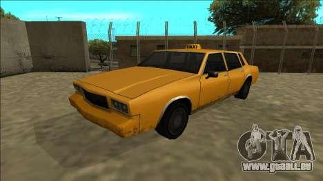 Tahoma Taxi pour GTA San Andreas sur la vue arrière gauche