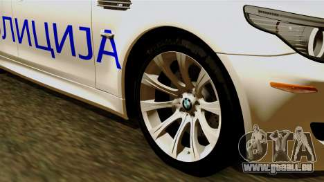 BMW M5 E60 Macedonian Police für GTA San Andreas zurück linke Ansicht