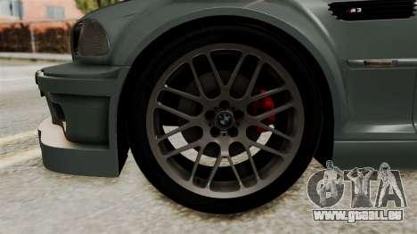 BMW M3 E46 GTR 2005 Stock für GTA San Andreas zurück linke Ansicht