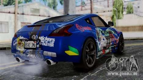 Nissan 370Z Tunable Miku Paintjob pour GTA San Andreas laissé vue