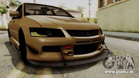Mitsubishi Lancer Evolution IX MR 2006 für GTA San Andreas Unteransicht