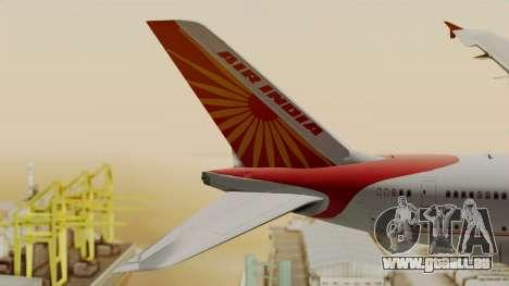 Airbus A380-861 Air India für GTA San Andreas zurück linke Ansicht