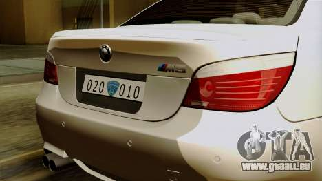 BMW M5 E60 Macedonian Police für GTA San Andreas Innenansicht