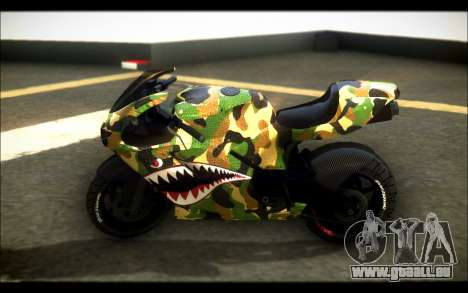 Bati Motorcycle Camo Shark Mouth Edition pour GTA San Andreas laissé vue