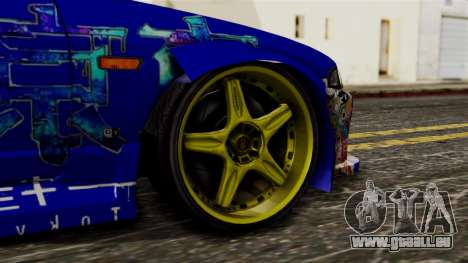 Nissan Skyline R33 Widebody Itasha pour GTA San Andreas sur la vue arrière gauche