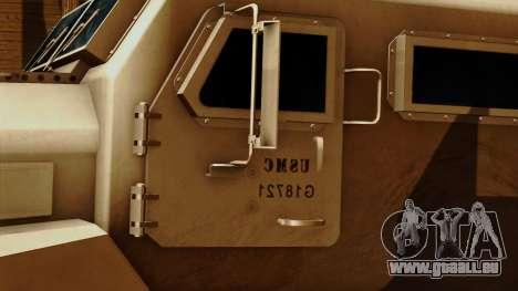 MRAP Cougar 4x4 pour GTA San Andreas vue arrière