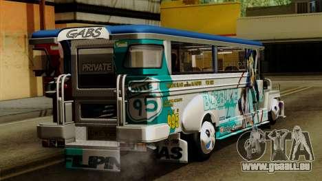 Auto Pormado - Gabshop Custom Jeepney pour GTA San Andreas laissé vue