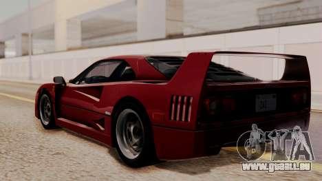 Ferrari F40 1987 without Up Lights HQLM pour GTA San Andreas laissé vue