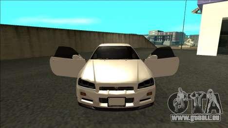 Nissan Skyline R34 Drift JDM pour GTA San Andreas vue intérieure