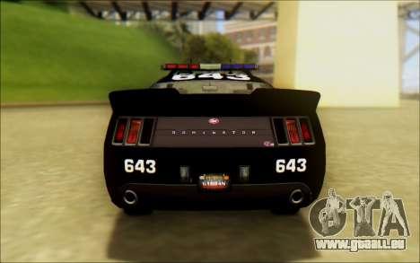 Schale Dominator Transformatoren Polizei Auto für GTA San Andreas zurück linke Ansicht